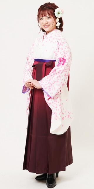 【着物】クリーム重ね桜+【袴】ワインボカシ