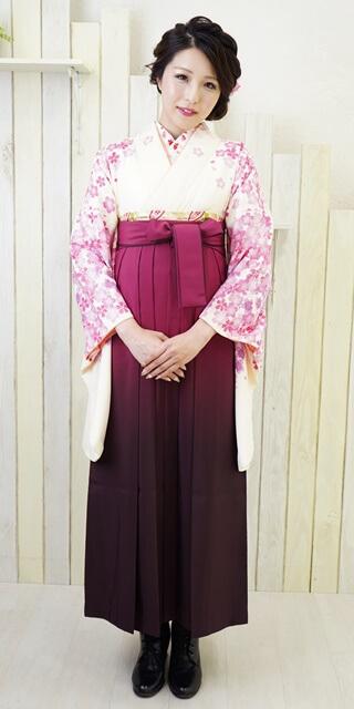 【着物】白地舞桜+【袴】ムラサキボカシ