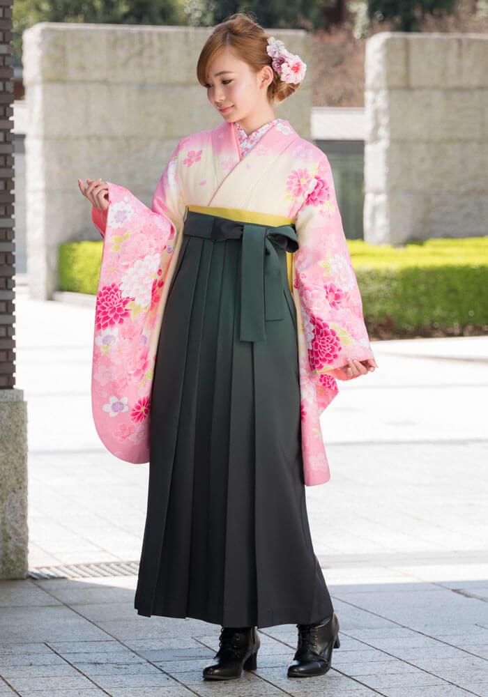 着物:クリームにピンク桜と洋花と袴:フカミドリボカシ