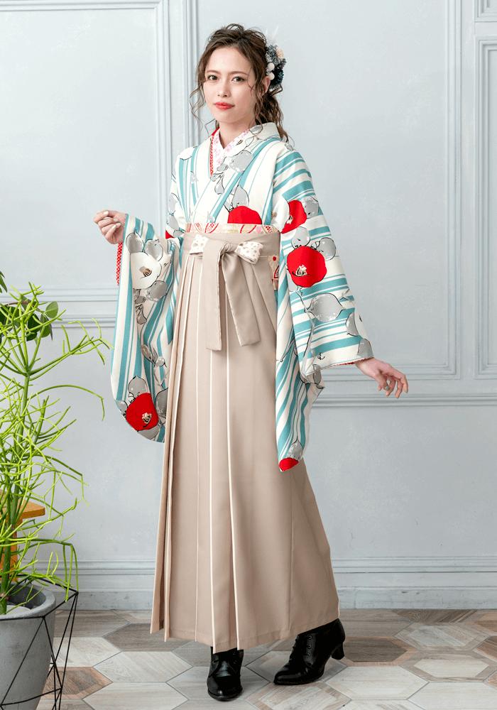 【着物】白地水色縞に椿+【袴】ベージュライン紐水玉