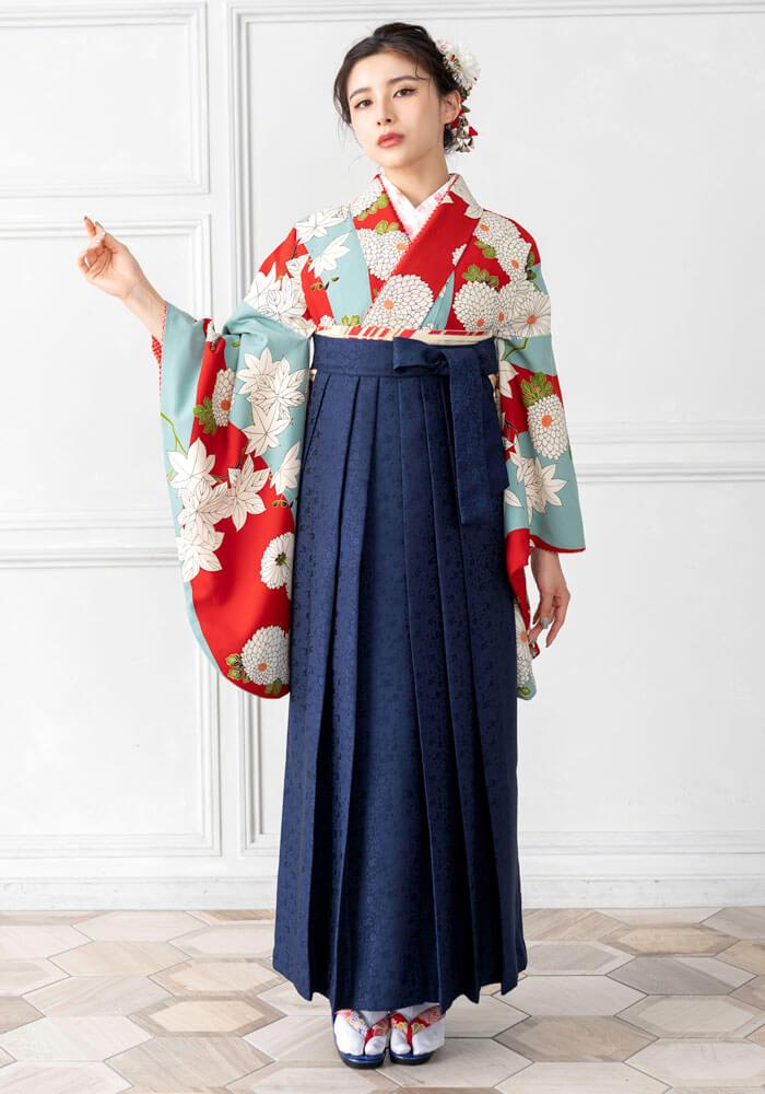 【着物】水色赤に大菊+【袴】紺サクラ小紋
