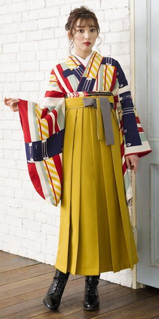 【着物】白地赤黄縞+【袴】キンチャひも縞 サムネイル