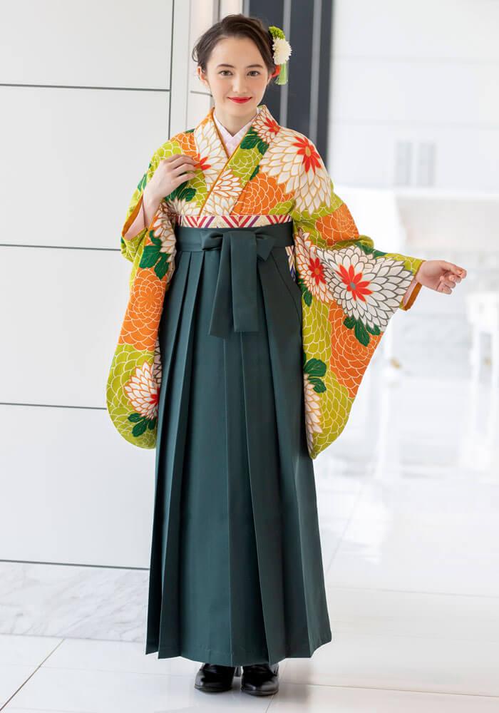 【着物】グリーン地に白大菊+【袴】フカミドリ