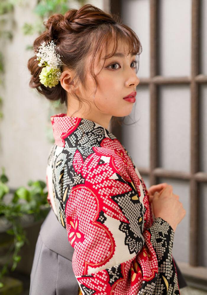 松竹梅が絞りで描かれたネットレンタル袴