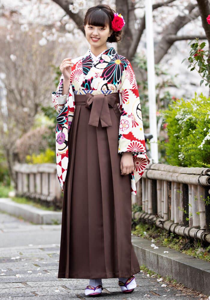 【着物】赤地白菊華衣+【着物】チャイロ