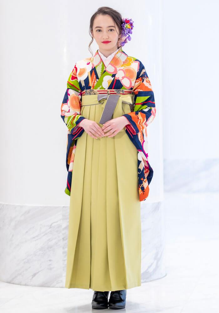 着物単品商品BBB466に袴を合わせた写真