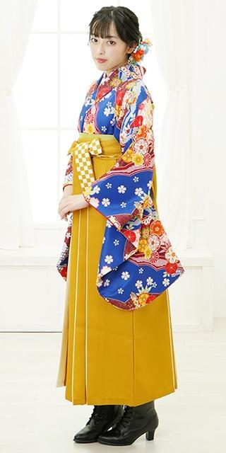 【着物】青に短冊花小紋+【袴】キンチャライン紐市松