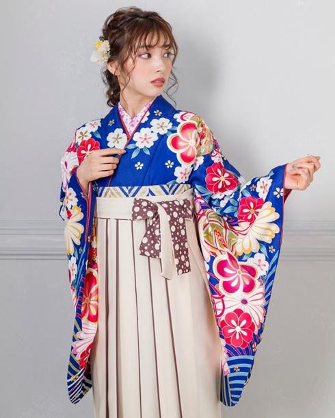 【着物】青海波に金梅+【袴】クリームライン紐水玉 アップ