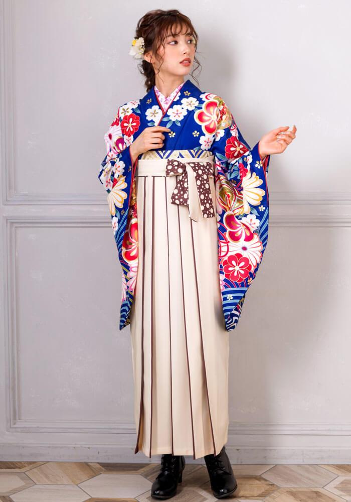 【着物】青海波に金梅+【袴】クリームライン紐水玉 サムネイル