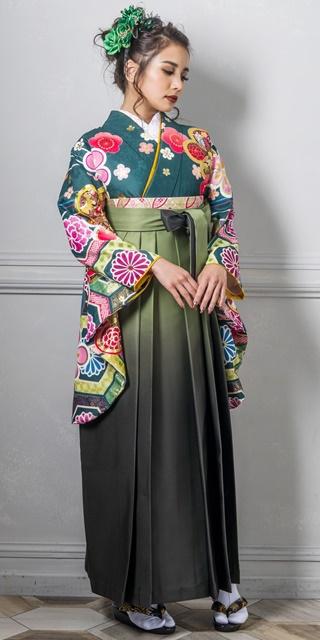 【着物】花亀甲に金梅+【袴】モスグリーンボカシ