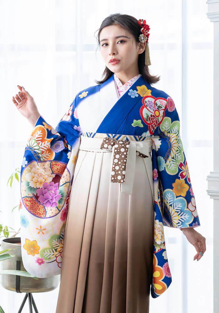 卒業式の袴に合わせる鮮やかなブルーの着物単品商品