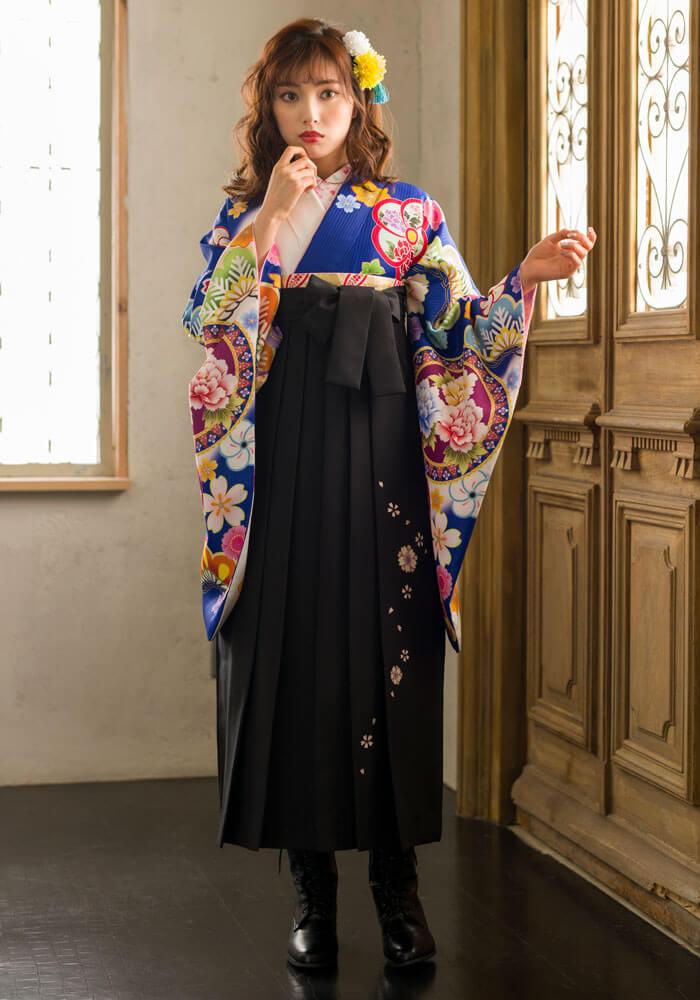 【着物】青白ぼかしに花鏡+【袴】クロ友ヤエザクラ  サムネイル