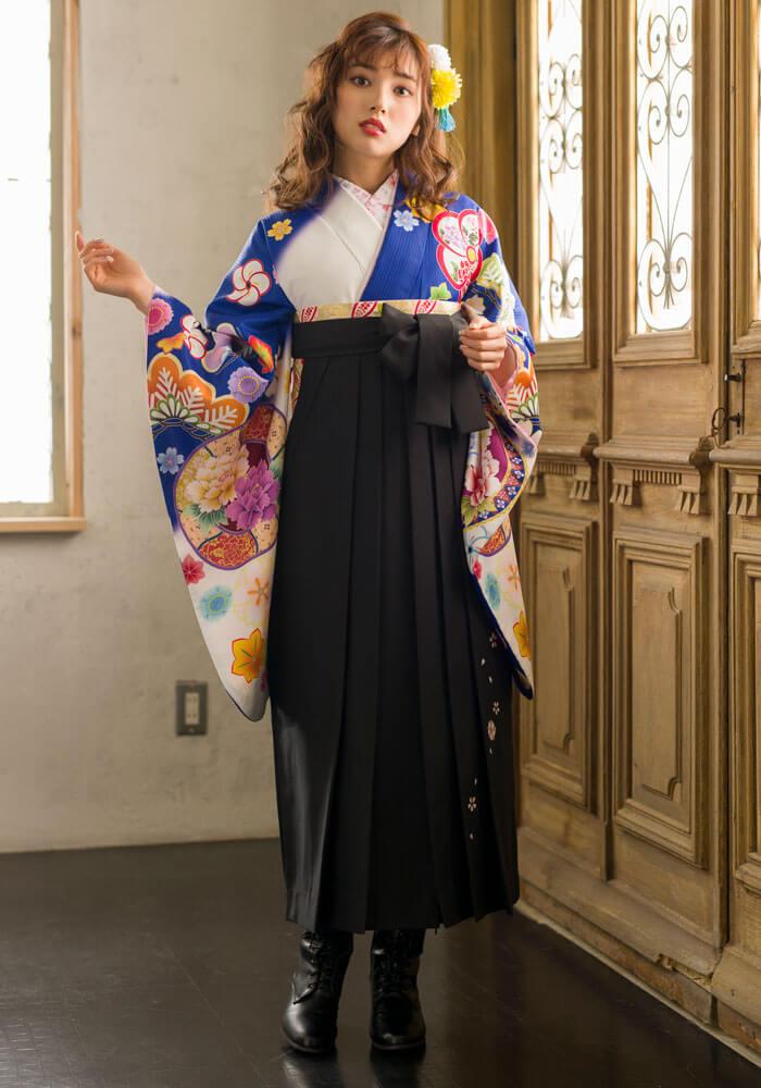 卒業式の袴ネットレンタルのセット商品【着物】青白ぼかしに花鏡+【袴】クロ友ヤエザクラ