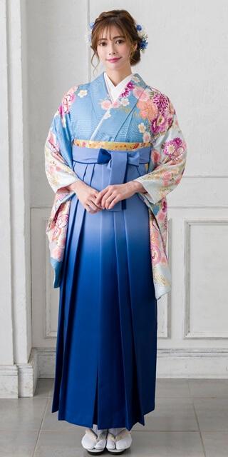 【着物】水色手まりに御所車+【袴】ブルーボカシ
