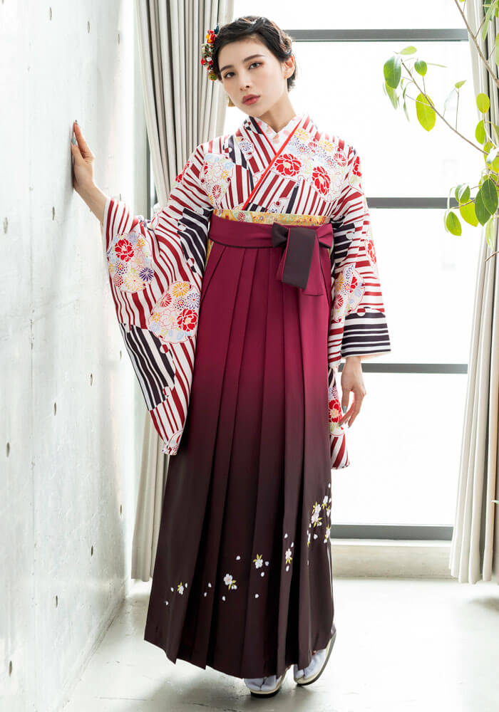 【着物】赤縞華かがみ+【袴】ワインボカシシシュウ