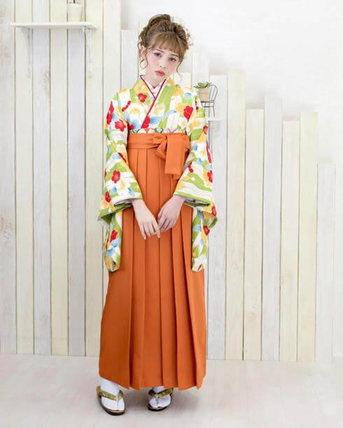オレンジと黄緑のポップな卒業式袴