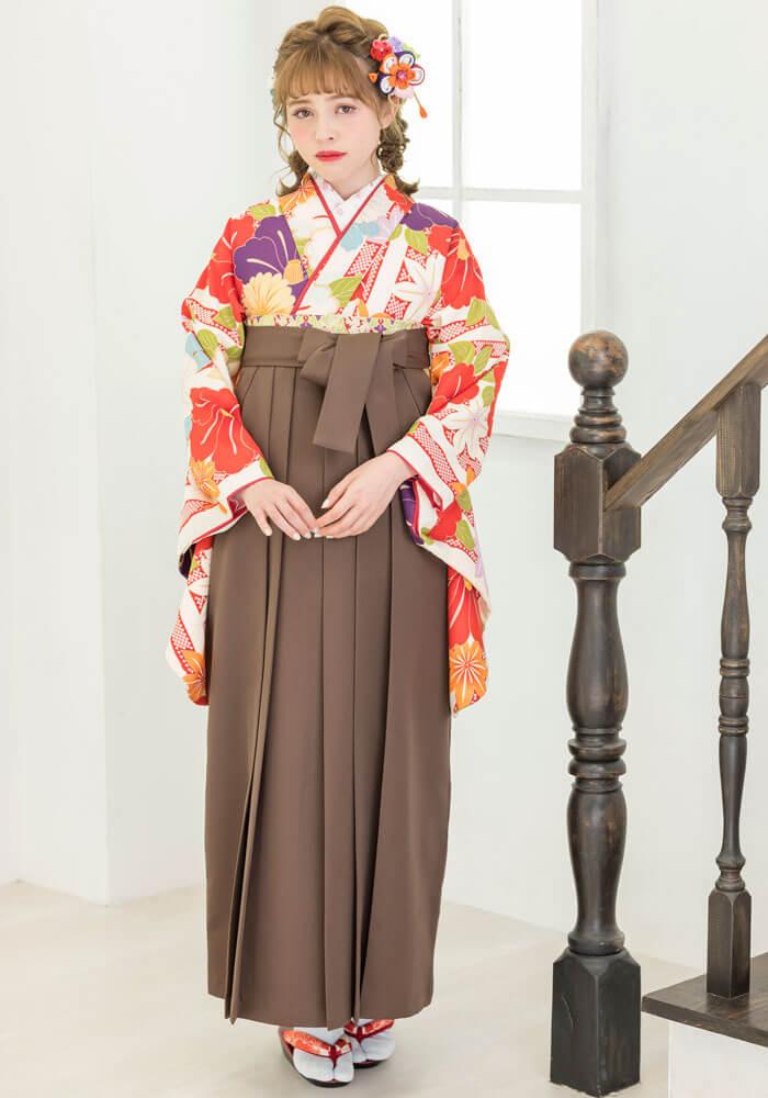 【着物】赤白縞かのこと椿+【袴】チャイロ
