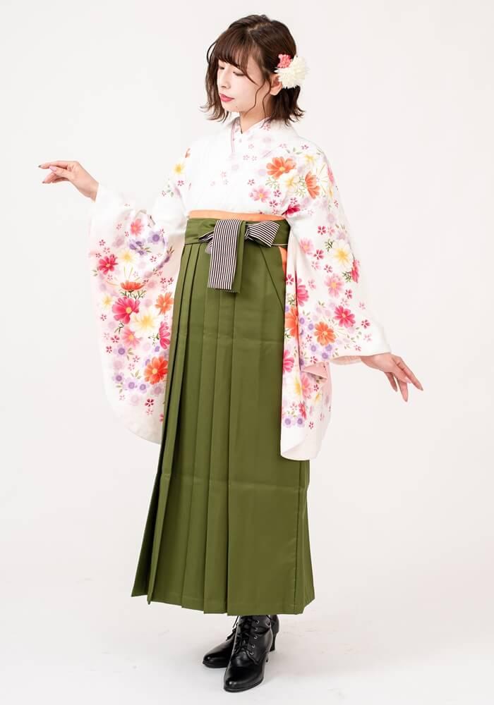 【着物】白刺繍洋花+【袴】抹茶ひも縞
