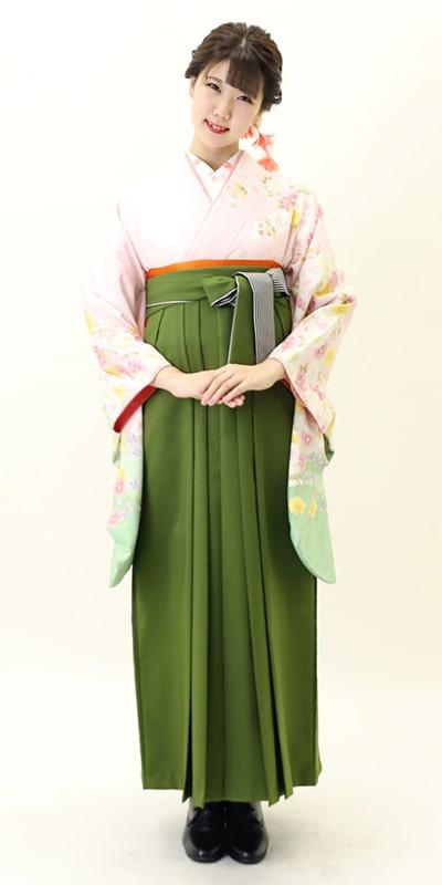 【着物】ピンク袖わかくさ八重桜+【袴】抹茶ひも縞