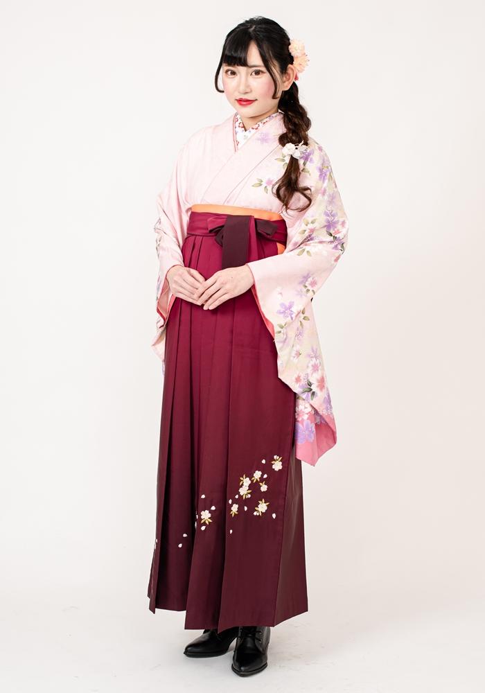 【着物】ピンクにコイピンク袖サクラ+【袴】ワインボカシシシュウ