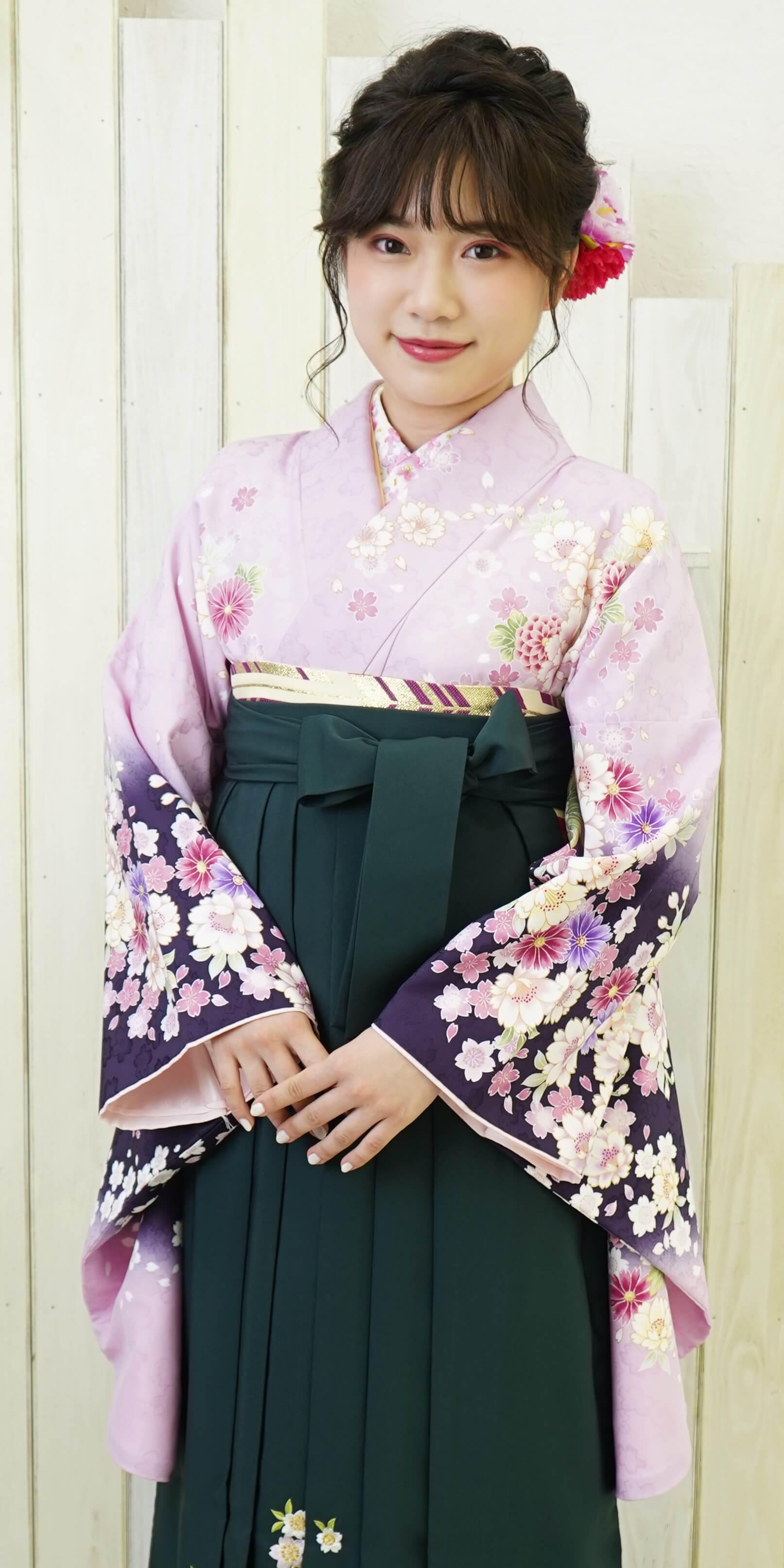 【着物】フジにコイムラサキ四季花