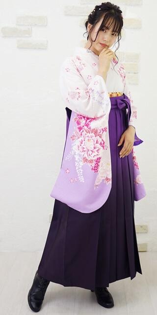 【着物】フジにボタンラメ刺繍_【袴】ムラサキボカシ