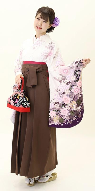 【着物】白地袖紫絞り桜+【袴】チャイロ
