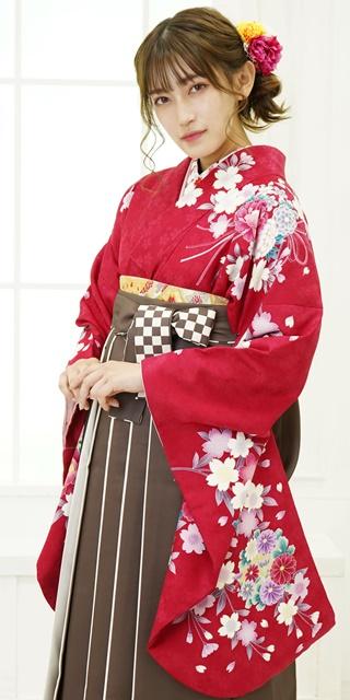【着物】ローズ肩に桜リボン