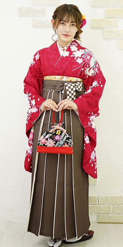 【着物】ローズ肩に桜リボン+【袴】チャイロライン紐市松