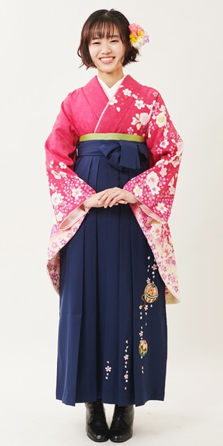【着物】ローズ桜袖金ちらし+【袴】コン手まりシシュウ