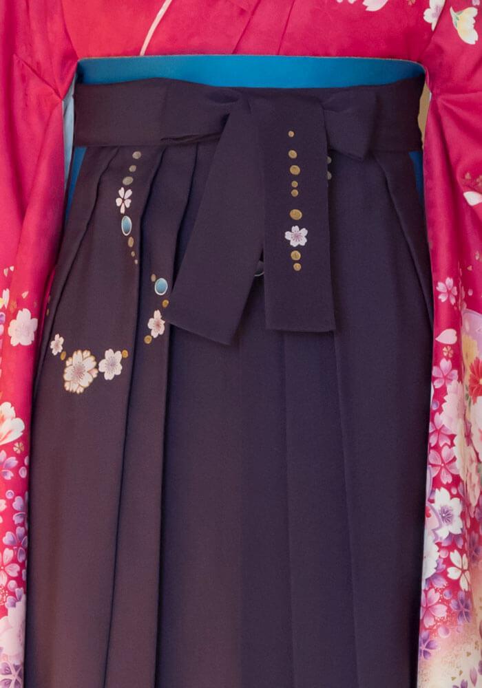 可愛い桜入の紫のネットレンタル袴