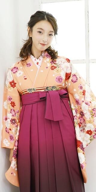 着物:オレンジにラメ桜