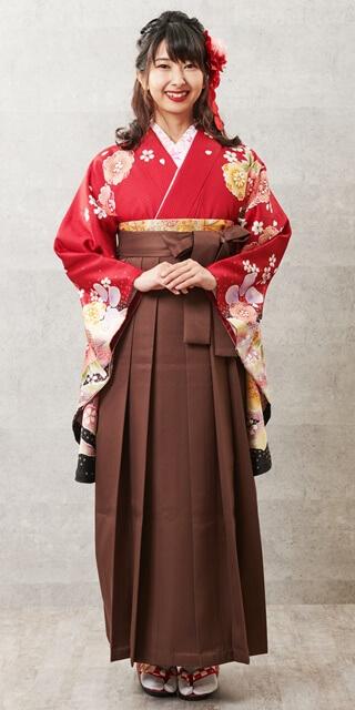 【着物】赤サクラ絞り柄+【袴】チャイロ
