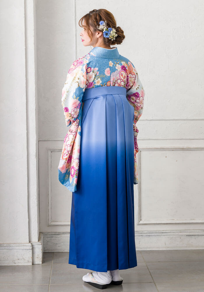 卒業式袴のネットレンタルで人気の青色