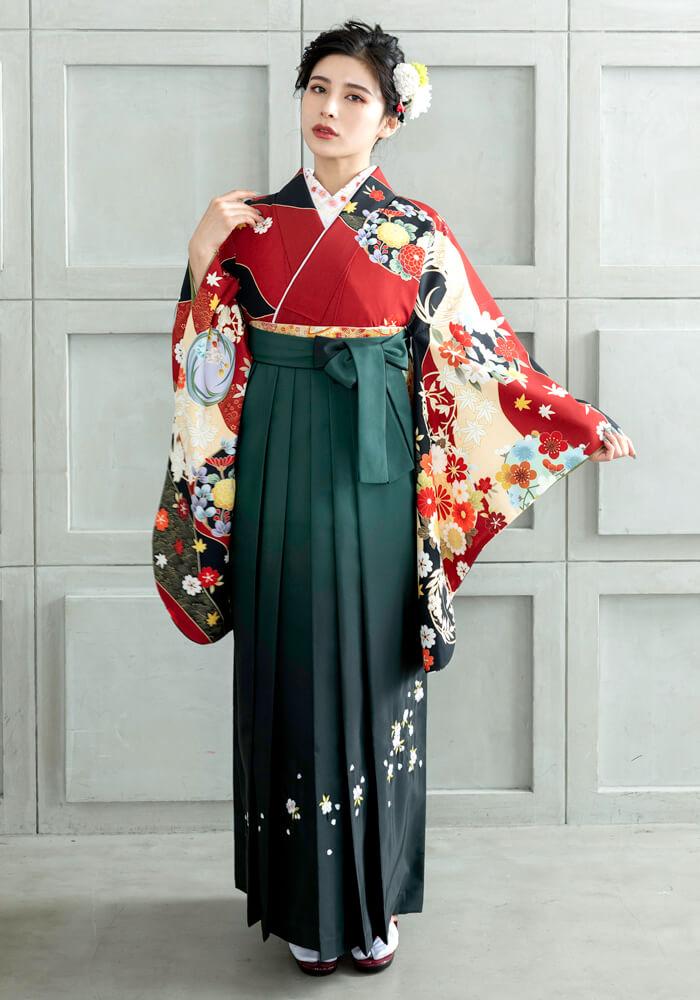 【着物】エンジ友禅四季花+【袴】フカミドリボカシ刺繍