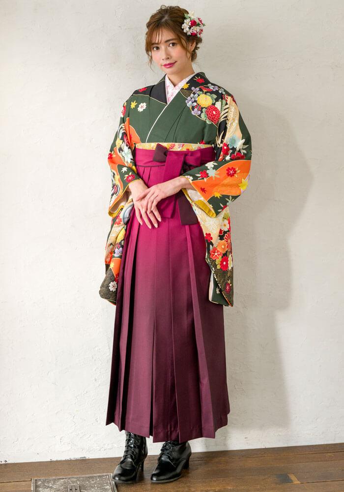 【着物】フカミドリ友禅四季花+【袴】ワインボカシ