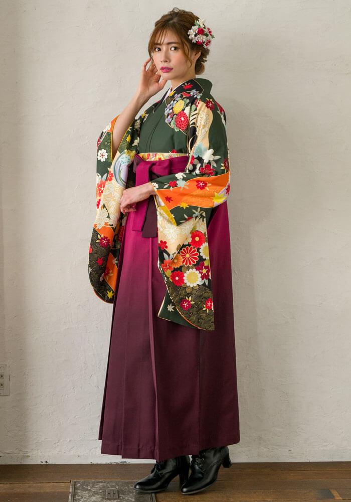 【着物】フカミドリ友禅四季花+【袴】ワインボカシの全身コーデ