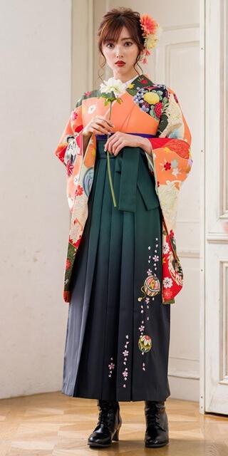 【着物】オレンジ友禅四季花+【袴】フカミドリ手まりシシュウ サムネイル