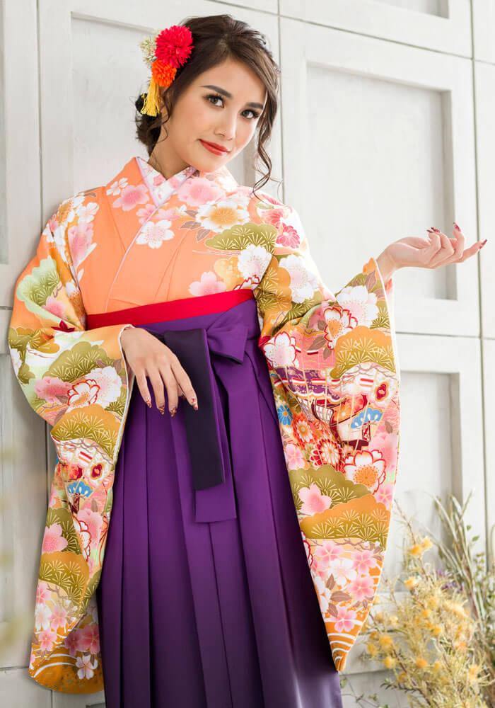 【着物】オレンジ松に扇