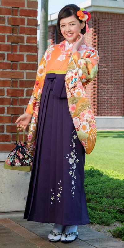 着物:オレンジ松に扇/袴:ムラサキ友シダレザクラ
