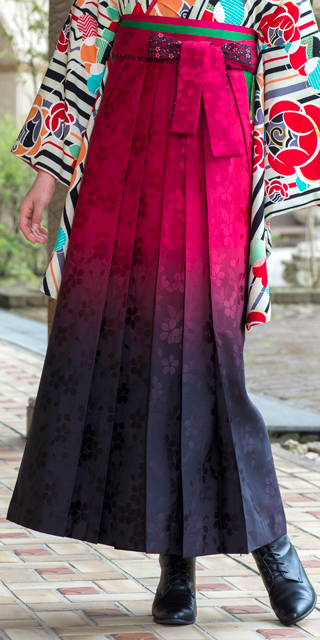 袴:HL赤×黒ぼかし桜ひも