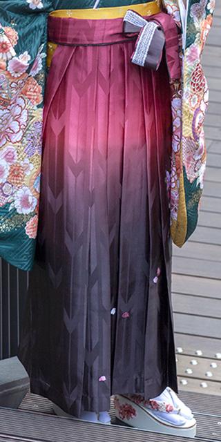 袴:HL赤茶ぼかしバラ刺繍