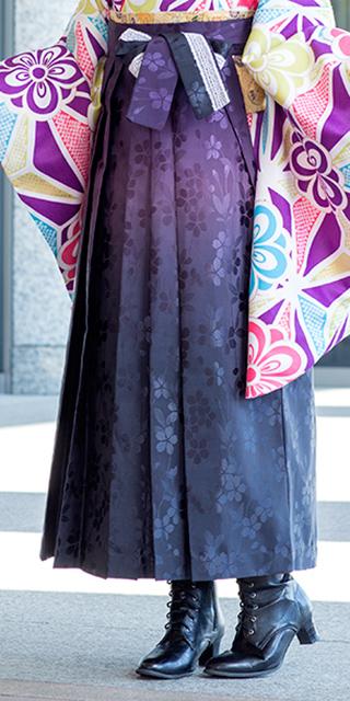 袴:HL紫黒ぼかし桜地