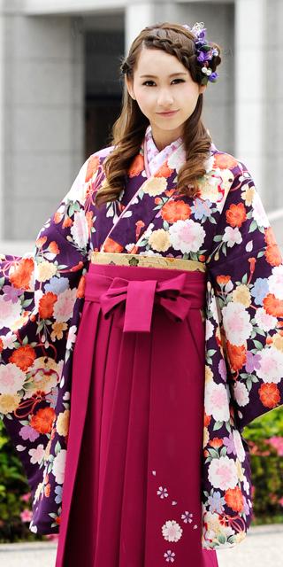 着物:紫桜鈴小紋
