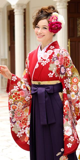 着物:アカ袖赤・エンジ手まり菊