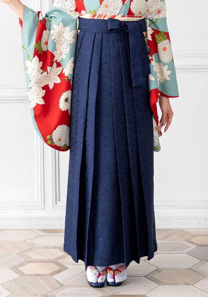 卒業式袴の宅配レンタルで人気の紺桜小紋の袴