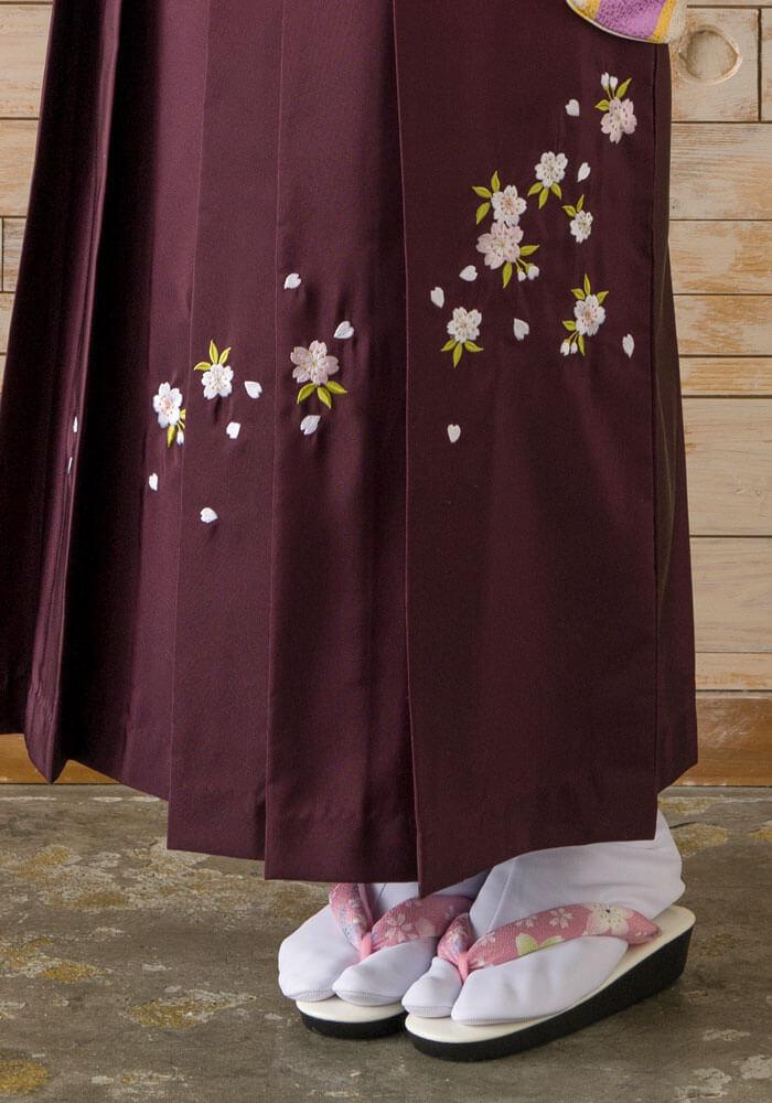 サクラの刺繍入りのワインボカシの袴